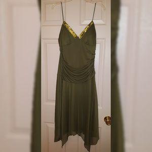 Green spaghetti strap dress